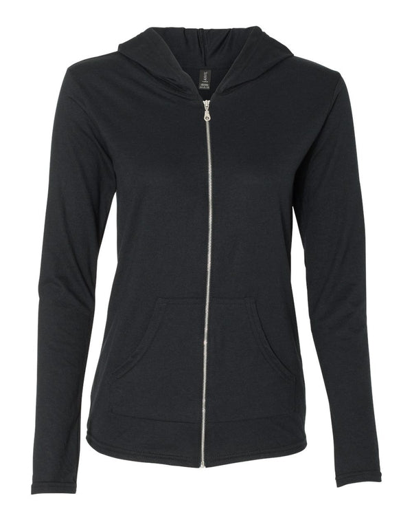 Women's Triblend Full-Zip Hooded Long sleeve T-Shirt-Anvil-Pacific Brandwear