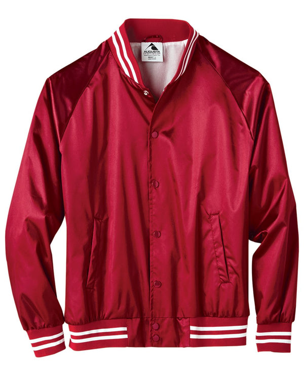 Satin Baseball Jacket Striped Trim-Augusta Sportswear-Pacific Brandwear