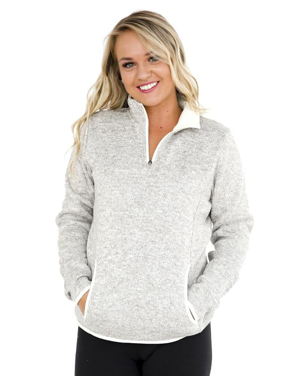 Charles River Women's Heathered Fleece Pullover-Charles River-Pacific Brandwear