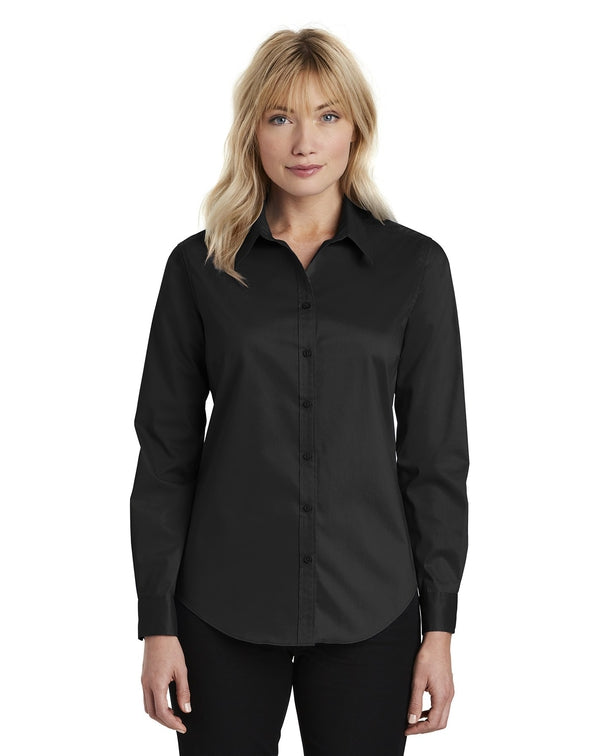 Port Authority® Ladies Stretch Poplin Shirt-Port Authority-Pacific Brandwear