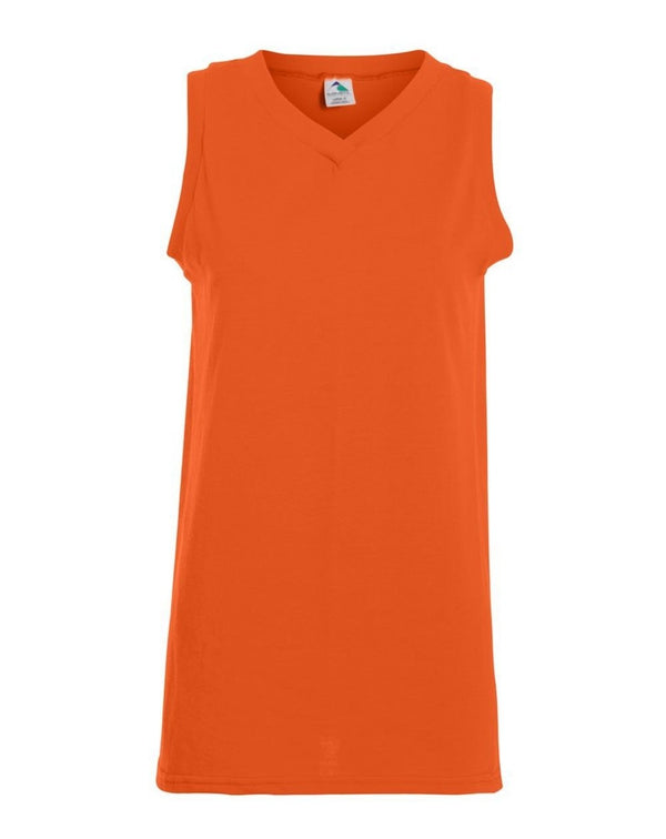 Girls' sleeveless V-Neck Jersey-Augusta Sportswear-Pacific Brandwear