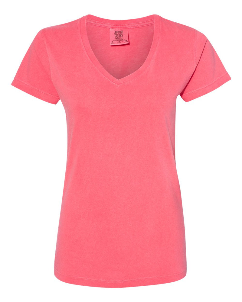 Garment-Dyed Women's Midweight V-Neck T-Shirt-Comfort Colors-Pacific Brandwear