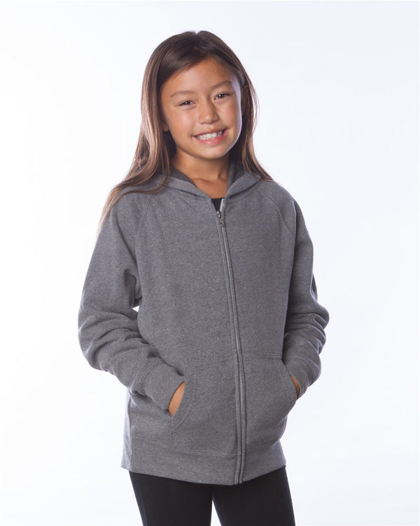 Youth Lightweight Special Blend Raglan Zip Hood-Independent Trading Co.-Pacific Brandwear