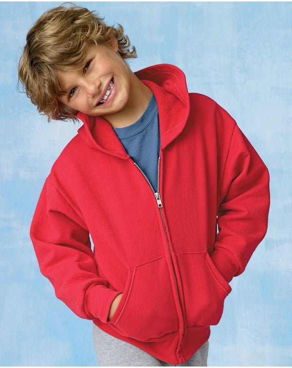 ComfortBlend EcoSmart Youth Full-Zip Hooded Sweatshirt-Hanes-Pacific Brandwear