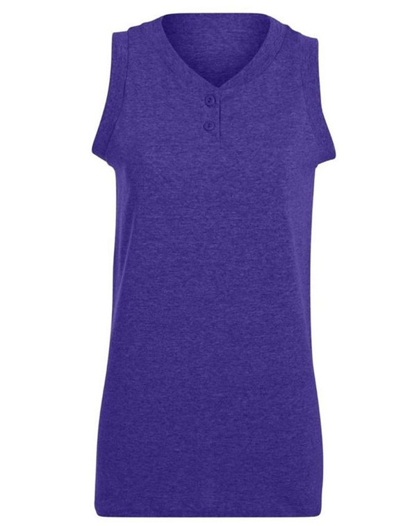 Women's sleeveless Two Button Softball Jersey-Augusta Sportswear-Pacific Brandwear