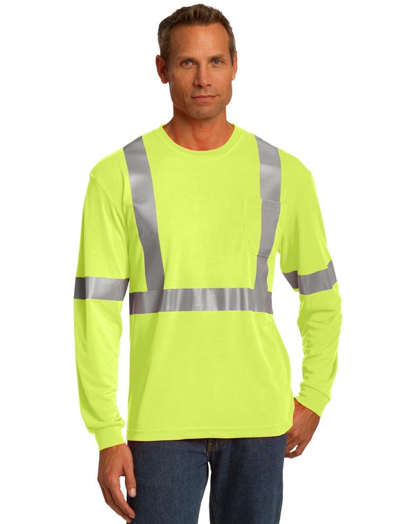 CornerStone® ANSI 107 Class 2 Long Sleeve Safety T-Shirt-CornerStone-Pacific Brandwear