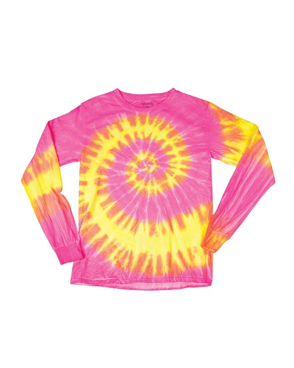 Youth Wave Tie Dye Long sleeve-Dyenomite-Pacific Brandwear