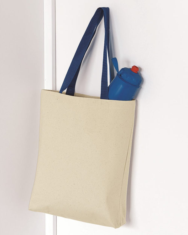11L Canvas Tote with Contrast-Color Handles-Q-Tees-Pacific Brandwear