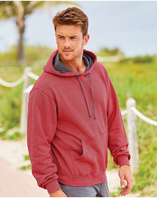 Sofspun Microstripe Hooded Pullover SweatShirt-Fruit of the Loom-Pacific Brandwear