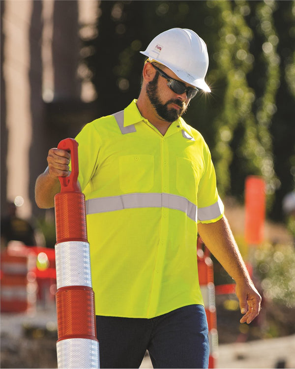 High Visibility Safety Short sleeve Work Shirt Tall Sizes-Red Kap-Pacific Brandwear