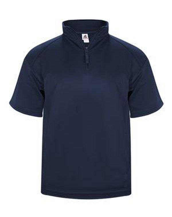 Poly Fleece Short Sleeve Quarter-Zip Pullover-Badger-Pacific Brandwear