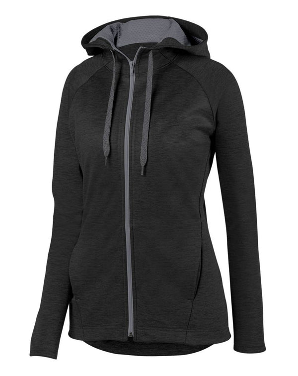 Women's Zoe Tonal Heather Full-Zip Hoodie-Augusta Sportswear-Pacific Brandwear