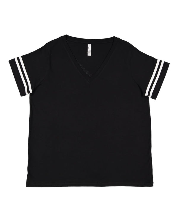 Curvy Collection Women's Vintage Football T-Shirt-LAT-Pacific Brandwear