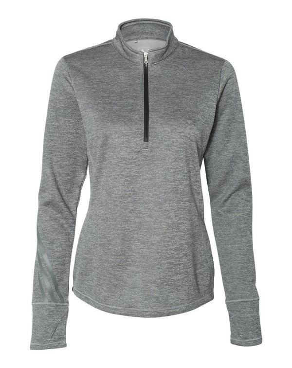 Women's Brushed Terry Heathered Quarter-Zip Pullover-Adidas-Pacific Brandwear