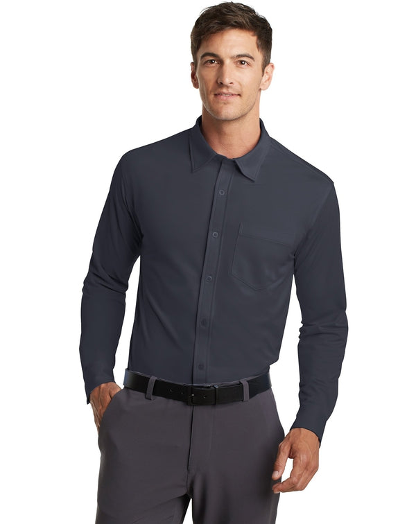 Port Authority® Dimension Knit Dress Shirt-Port Authority-Pacific Brandwear
