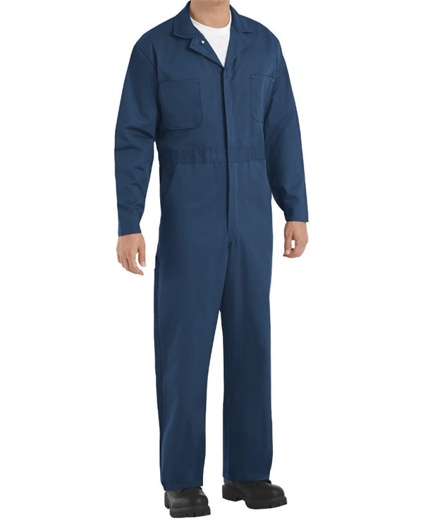 Button-Front Cotton Coverall Long Sizes-Red Kap-Pacific Brandwear