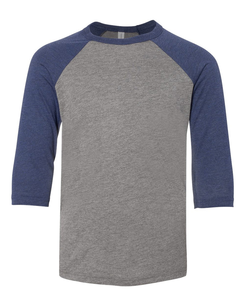 Youth Three-Quarter sleeve Baseball Tee-BELLA + CANVAS-Pacific Brandwear