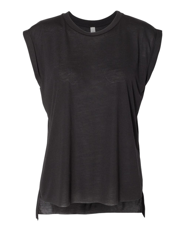 Women's Flowy Rolled Cuffs Muscle Tee-BELLA + CANVAS-Pacific Brandwear