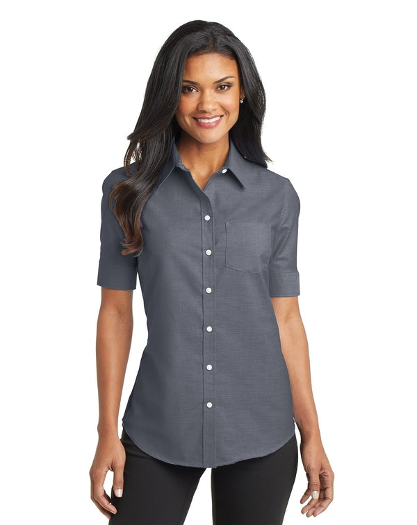 Port Authority® Ladies Short Sleeve SuperPro™ Oxford Shirt-Port Authority-Pacific Brandwear