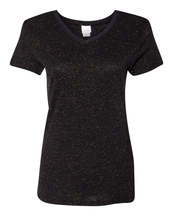 Women's Glitter V-Neck Short sleeve T-Shirt-J. America-Pacific Brandwear
