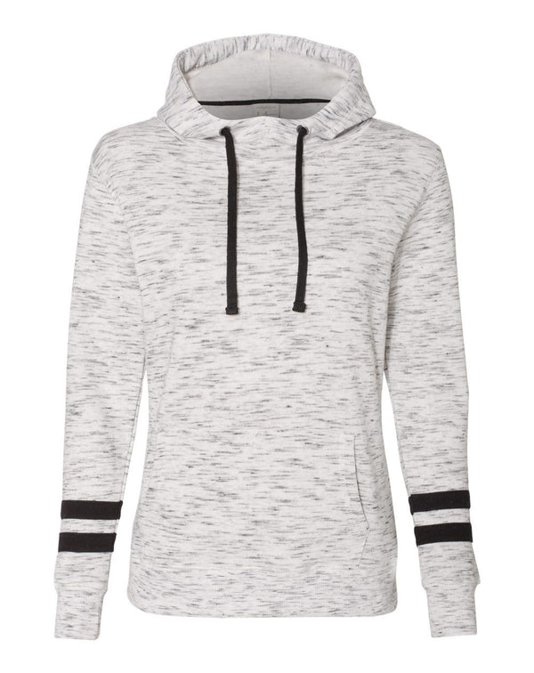 Women's M_lange Fleece Striped-sleeve Hooded Sweatshirt-J. America-Pacific Brandwear