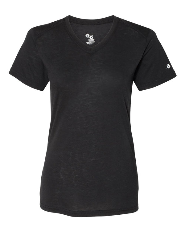 Women's Triblend Performance V-Neck Short sleeve T-Shirt-Badger-Pacific Brandwear