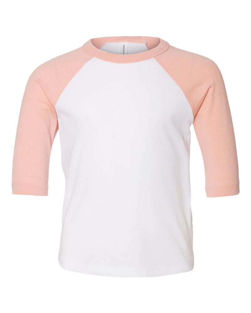 Toddler Three-Quarter sleeve Baseball Tee-BELLA + CANVAS-Pacific Brandwear