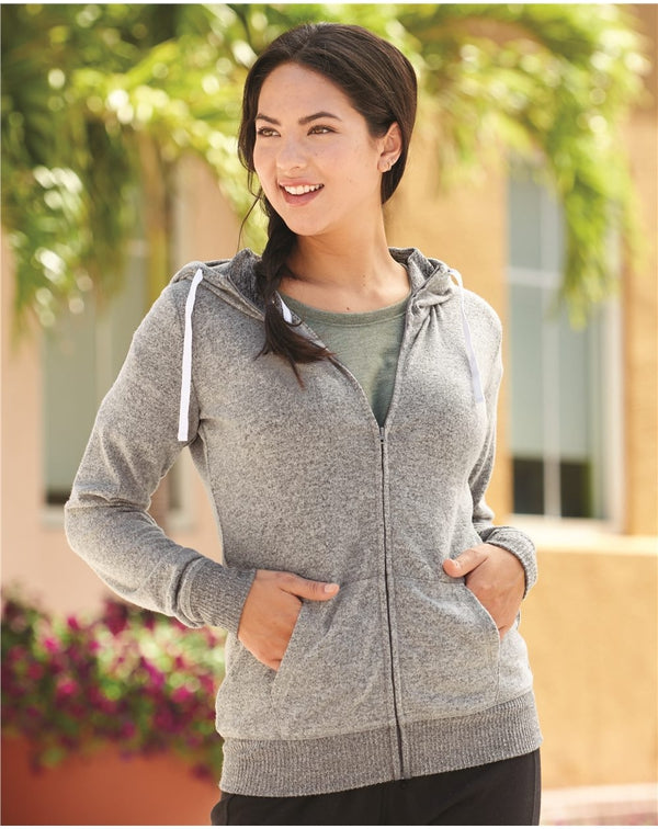 Women's Cozy Jersey Full-Zip Hooded Sweatshirt-J. America-Pacific Brandwear