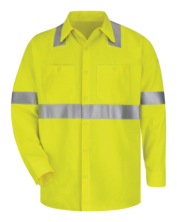 High Visibility Long sleeve Work Shirt Long Sizes-Bulwark-Pacific Brandwear
