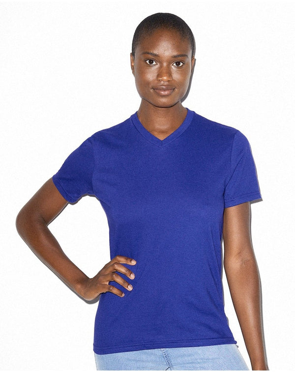 Women's Fine Jersey Classic V-Neck Tee-American Apparel-Pacific Brandwear