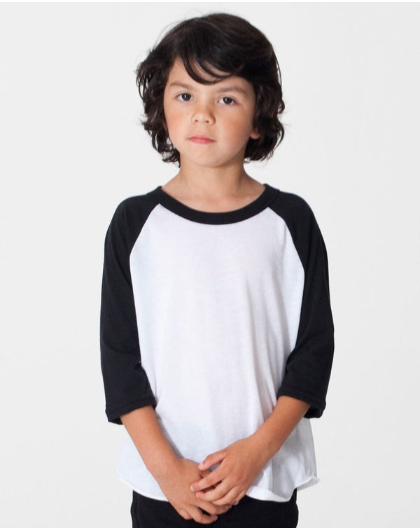 Toddler 50/50 Poly/Cotton Three-Quarter sleeve Tee-American Apparel-Pacific Brandwear