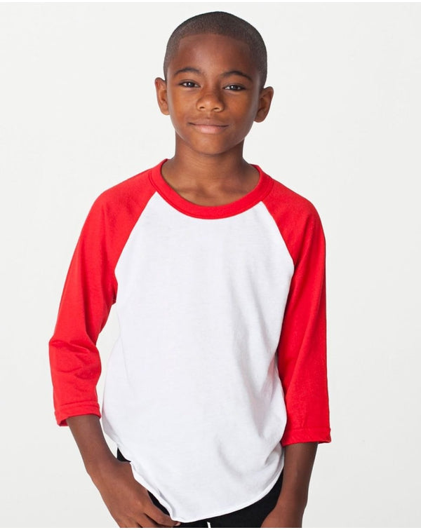 Youth 50/50 Poly/Cotton Three-Quarter sleeve Tee-American Apparel-Pacific Brandwear