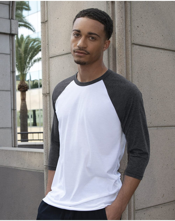 USA-Made Unisex 50/50 Poly/Cotton Raglan Three-Quarter sleeve Tee-American Apparel-Pacific Brandwear