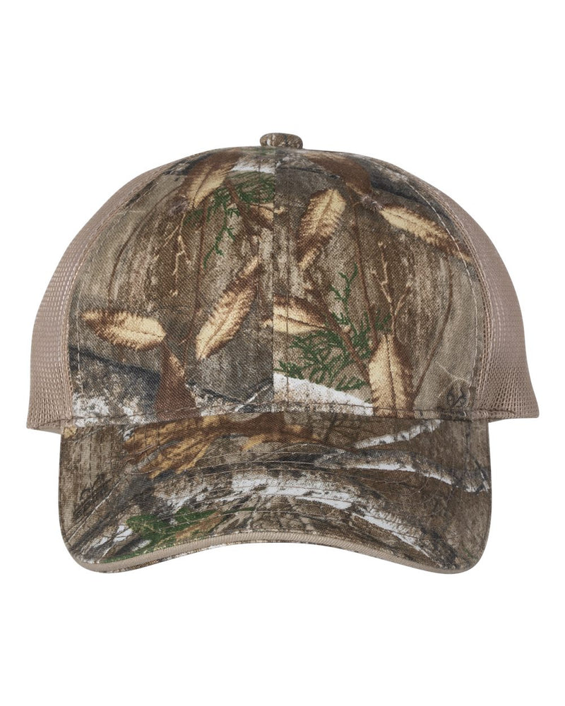 Washed Brushed Mesh-Back Camo Cap-Outdoor Cap-Pacific Brandwear