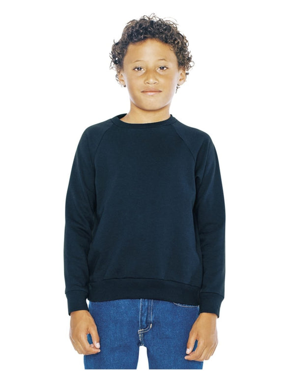 Youth California Fleece Raglan Sweatshirt-American Apparel-Pacific Brandwear