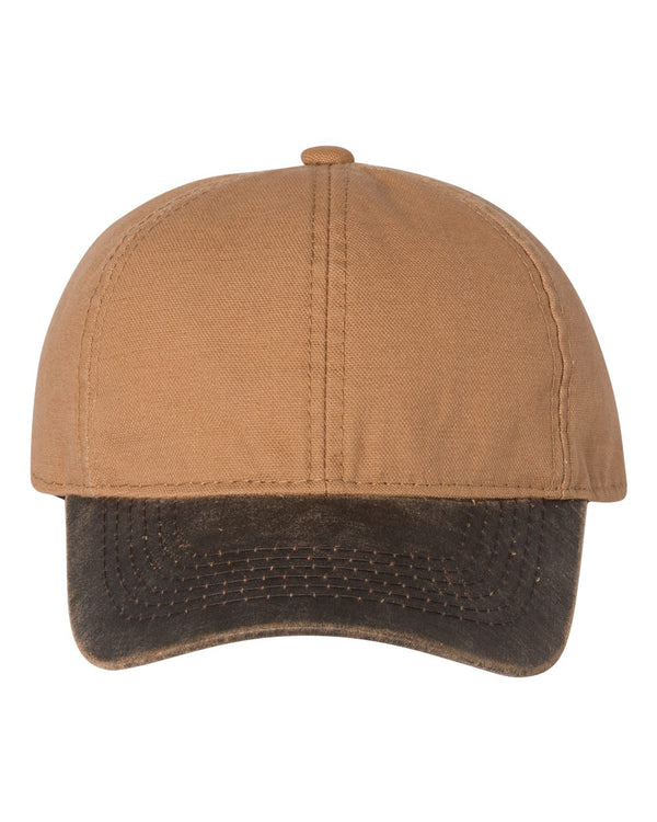 Weathered Canvas Crown Cap with Contrast-Color Visor-Outdoor Cap-Pacific Brandwear