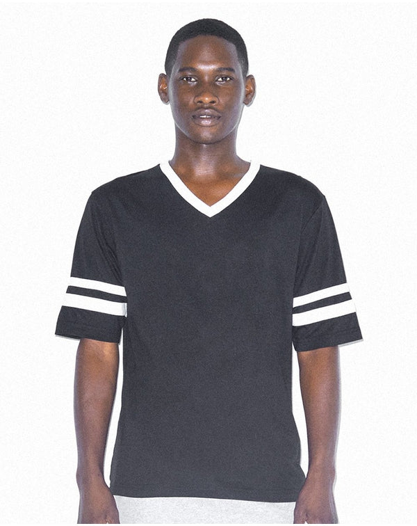 Unisex Poly/Cotton V-Neck Football Tee-American Apparel-Pacific Brandwear