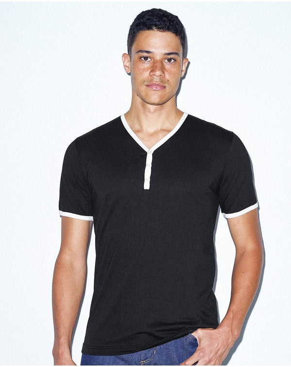 Unisex Poly/Cotton V-Neck Henley-American Apparel-Pacific Brandwear