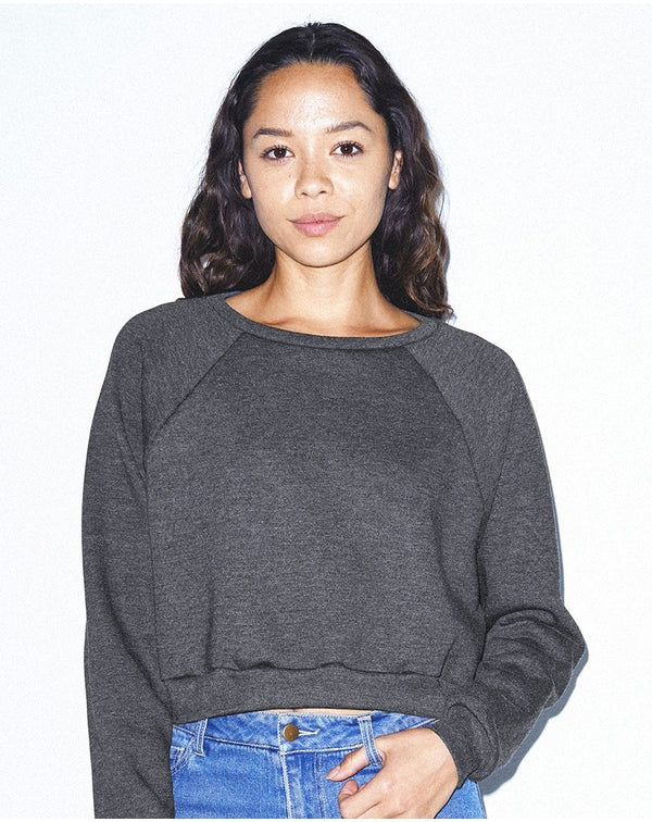 Women's Flex Fleece Raglan Crop Sweatshirt-American Apparel-Pacific Brandwear