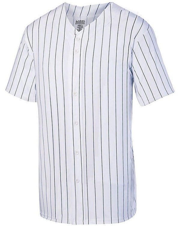 Youth Pinstripe Full Button Baseball Jersey-Augusta Sportswear-Pacific Brandwear