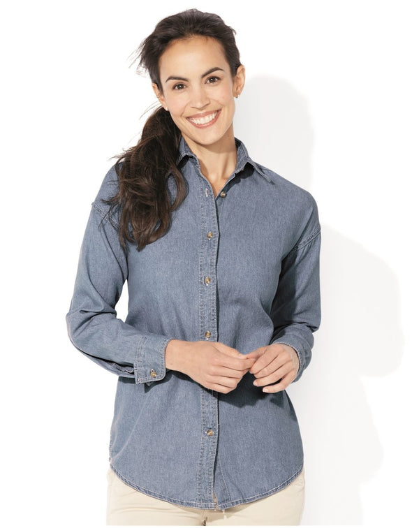 Sierra Pacific Women's Long Sleeve Denim Shirt-Sierra Pacific-Pacific Brandwear