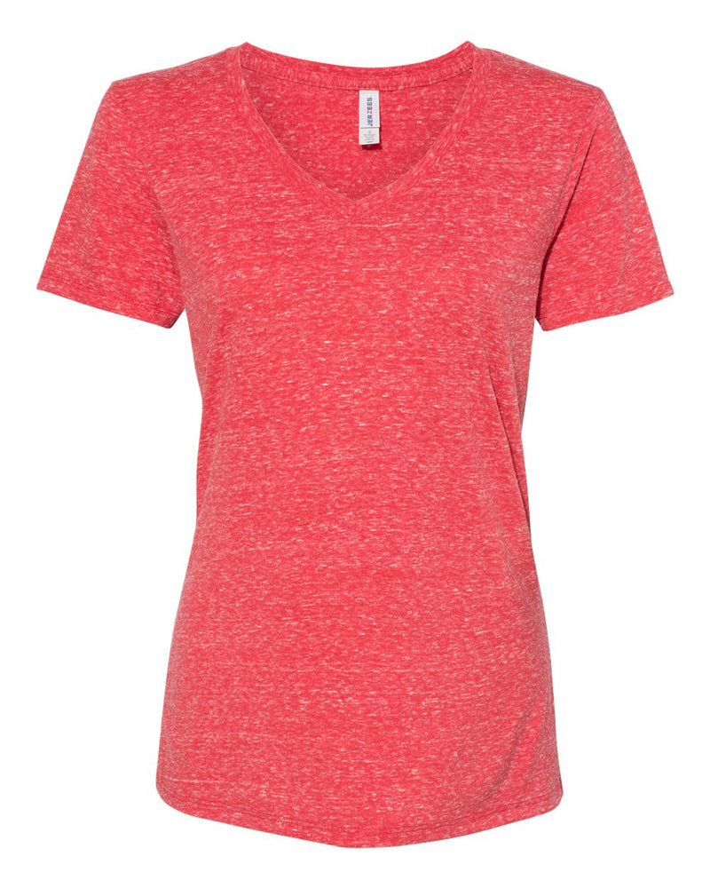 Women's Snow Heather Jersey V-Neck-JERZEES-Pacific Brandwear