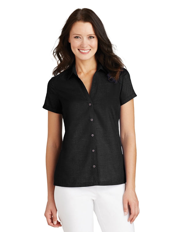 Port Authority® Ladies Textured Camp Shirt-Port Authority-Pacific Brandwear