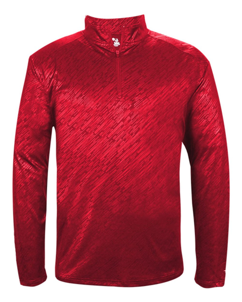 Line Embossed Quarter-Zip Long sleeve T-Shirt-Badger-Pacific Brandwear
