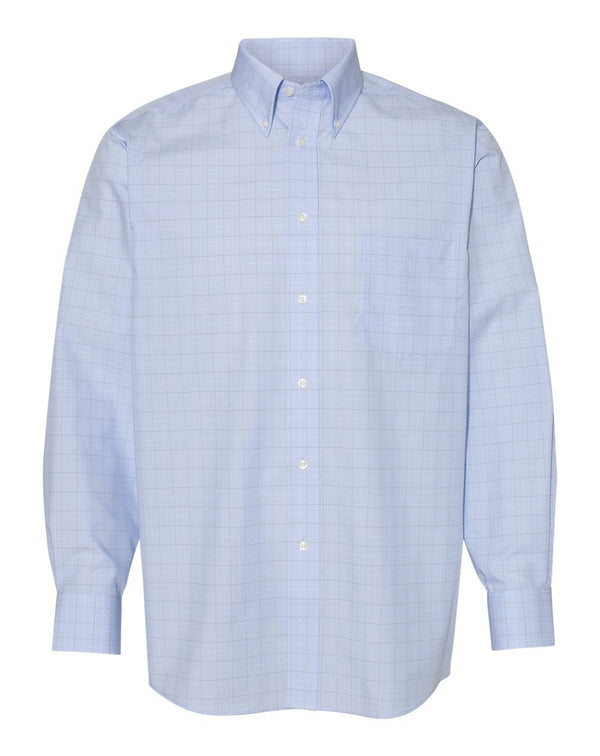 Van Heusen Blue Suitings Non-Iron Patterned Shirt-Van Heusen-Pacific Brandwear