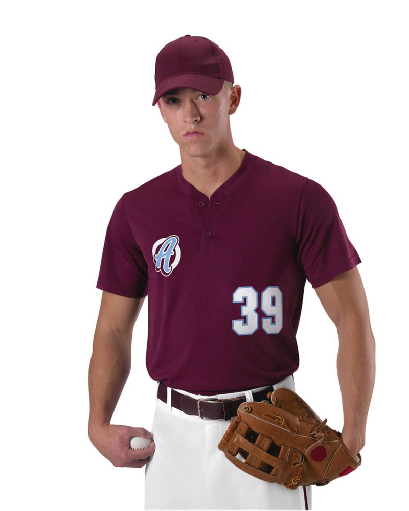 Youth Baseball Two Button Henley Jersey-Alleson Athletic-Pacific Brandwear