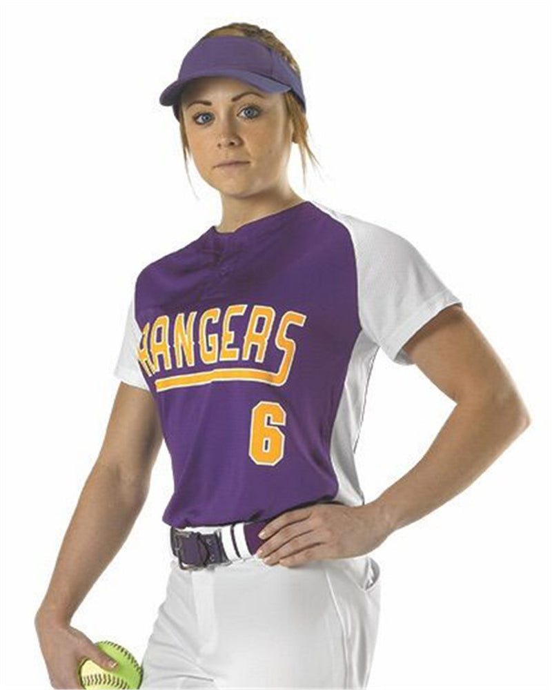 Girls' Two Button Fastpitch Jersey-Alleson Athletic-Pacific Brandwear
