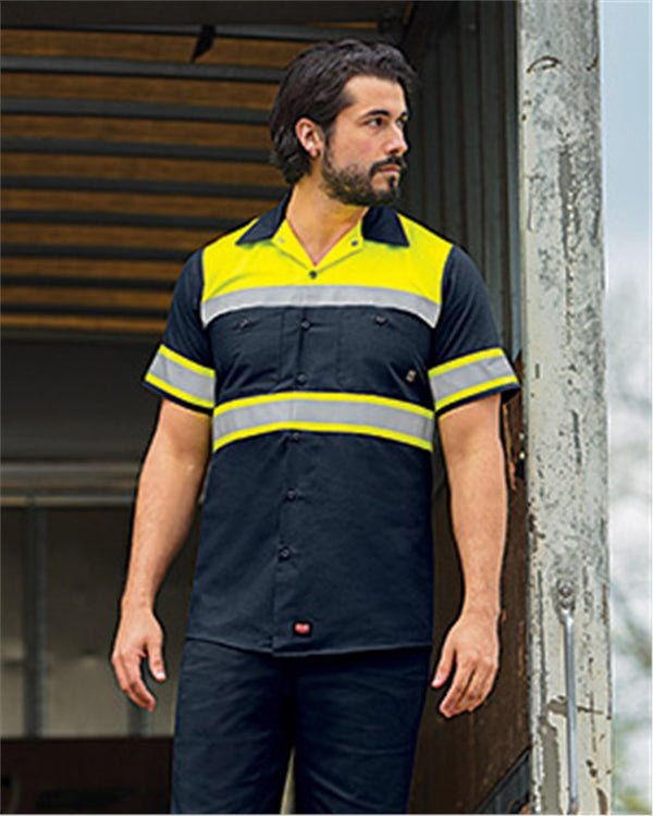 Hi-Visibility Colorblock Ripstop Short sleeve Work Shirt-Red Kap-Pacific Brandwear