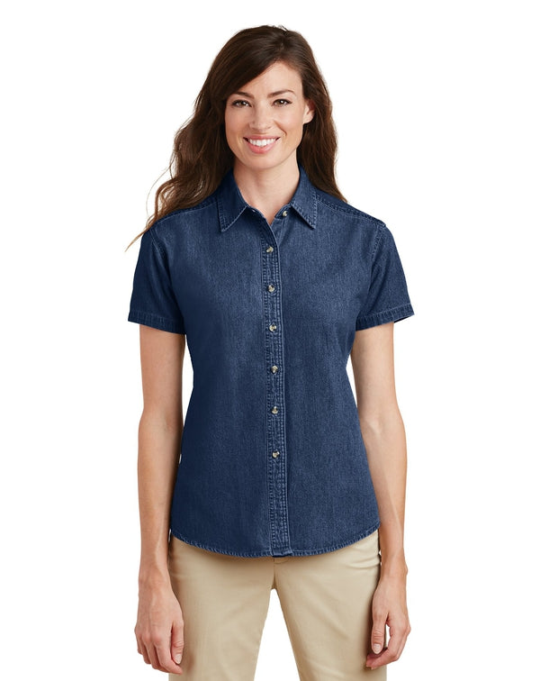 Port & Company® - Ladies Short Sleeve Value Denim Shirt-Port & Company-Pacific Brandwear