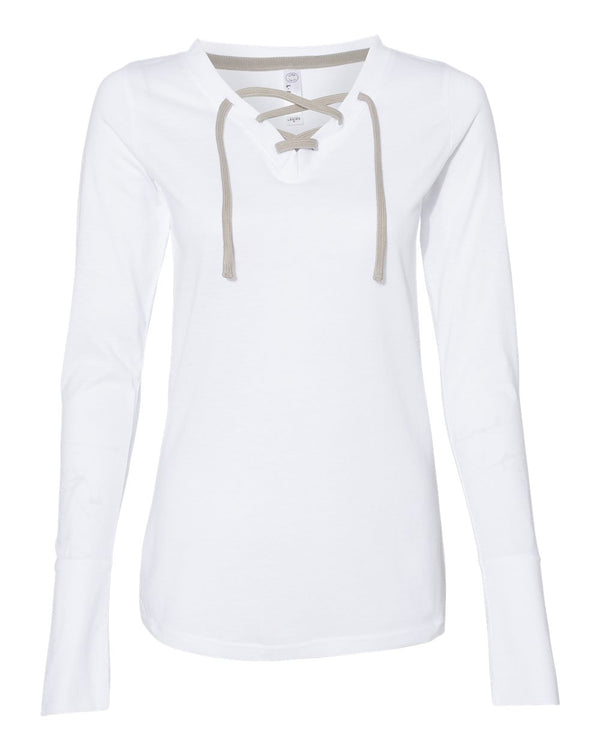Women's Fine Jersey Lace-Up Long sleeve T-Shirt-LAT-Pacific Brandwear
